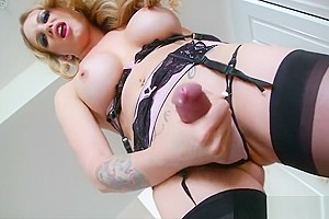 Gorgeous tranny playing with her shaft