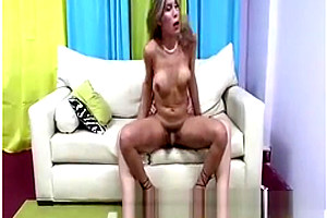 horny shemale gets A Hard fuck On The daybed