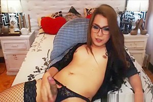 Sweet Asian Shemale Jerks Her Cock