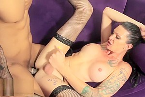 Tattooed tgirl assfucked by black cock