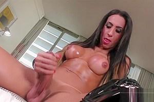 Busty tranny Sabrina Camargo jerking off