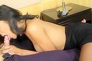 Post-Op Ladyboy Gives Pantyhose BlowJob
