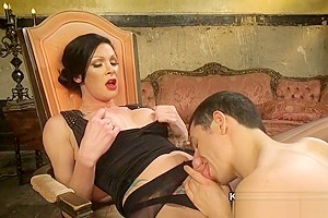 Tall tranny in panties anal fucks guy