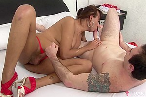 Monique Bittencourt & Junior Balboa in Cute Shemale Loves Getting Filled With Cock - Tranny